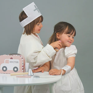JaBaDaBaDo Doctor's Case Pink | Wooden Pretend Play Toy | Lifestyle – 2 Girls Playing Syringe | BeoVERDE.ie