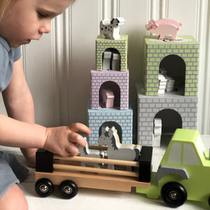 JaBaDaBaDo Farm Tractor | Wooden Imaginative Play Toy | Side View – Little Girl Playing | BeoVERDE.ie