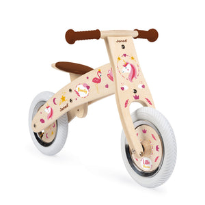 Janod Nature Balance Bike | Activity Wooden Toy| Bikes & Scooters | Balance Bike Decorated with Unicorn Stickers | BeoVERDE.ie