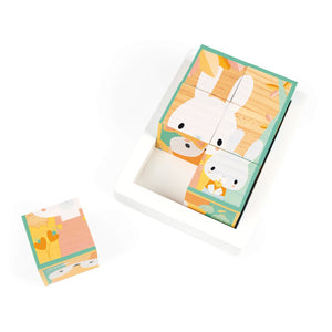 Janod Pure 6 Wooden Blocks Tray | Wooden Toddler Activity Toy | Top View – Rabbits – One Block Out | BeoVERDE.ie