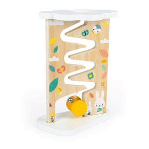 Janod Pure Ball Track | Toddler Activity Toy | Yellow Spool Hitting Bell | BeoVERDE.ie