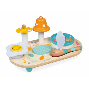 Janod Pure Musical Table | Wooden Toddler Activity Toy | Front Side View | BeoVERDE.ie