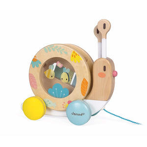 Janod Pure Pull-Along Snail | Wooden Toddler Activity Toy | Right Side View Drum | BeoVERDE.ie