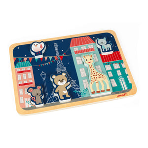 Sophie la girafe Chunky Wooden Puzzle | Wooden Toddler Activity Toy | Puzzle Completed – Side View | BeoVERDE.ie