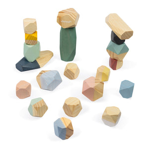 Janod Sweet Cocoon Stacking Stones | Scandi Style Wooden Toy | Top View Stones Partially Stacked Up | BeoVERDE.ie