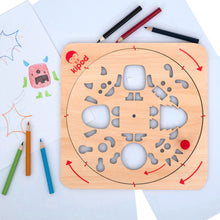 Load image into Gallery viewer, Monsters - Rotating Wooden Drawing Stencil Kit for Children | Kipod Toys | Wooden Arts & Crafts Kit | Educational Wooden Toy | Lifestyle – Drawing Samples | BeoVERDE.ie