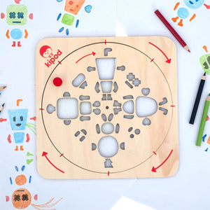 Robots - Rotating Wooden Drawing Stencil Kit for Children | Kipod Toys | Wooden Arts & Crafts Kit | Educational Wooden Toy | Lifestyle – Drawing Samples | BeoVERDE.ie