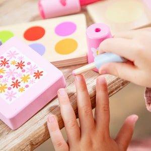 New Classic Toys Make Up Set | Wooden Pretend Play Toy | Lifestyle –Close Up Girl Using Nail Polish | BeoVERDE.ie
