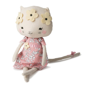 Picca LouLou Kitty Cat | Imaginative Play Toy | Soft Toy Made From Cotton | Sitting - Front | BeoVERDE.ie