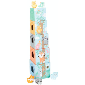 Small Foot Stacking Cubes With 5 Forest Animals | Wooden Imaginative Play Toy | Tower – Opposite Side View with Wooden Animals | BeoVERDE.ie