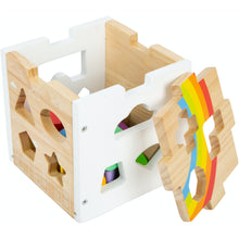 Load image into Gallery viewer, Small Foot Wooden Rainbow Shape Sorter Cube | Baby & Toddler Activity Toy | Cube Open | BeoVERDE.ie