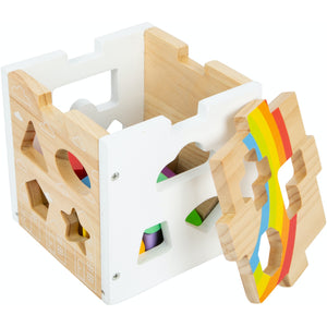 Small Foot Wooden Rainbow Shape Sorter Cube | Baby & Toddler Activity Toy | Cube Open | BeoVERDE.ie