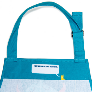 ThreadBear Design Children's Apron 'The Scruffles' | Closeup Inside Facing Place At Neck To Write Name | BeoVERDE.ie