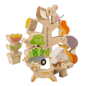 Tender Leaf Stacker Toy Garden Friends Set | Hand-Crafted Wooden Animal Toys | BeoVERDE.ie