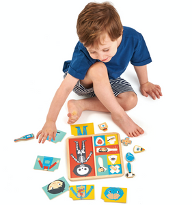 Tender Leaf Ouch Puzzle | Hand-Crafted Wooden Educational Toy | Boy Playing | BeoVERDE.ie