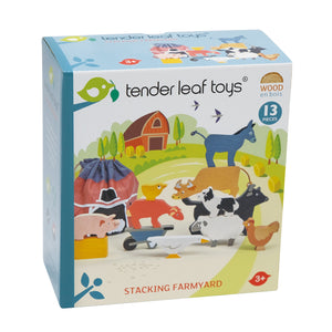 TenderLeaf Stacking Farmyard | Hand-Crafted Wooden Animal Toys | Packaging | BeoVERDE.ie
