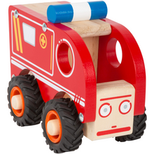 Load image into Gallery viewer, Small Foot Wooden Ambulance | Front Top View | BeoVERDE.ie