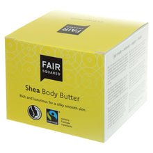 Load image into Gallery viewer, FAIR SQUARED Shea Body Butter | Fairtrade Vegan Natural Halal | Box Closeup | BeoVERDE.ie