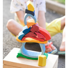 Load image into Gallery viewer, Gluckskafer Wooden Mushroom House | Imaginative Play Wooden Toys | Waldorf Education and Montessori Education | Lifestyle: Mushroom House Pieces Stacked | BeoVERDE.ie