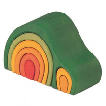 Load image into Gallery viewer, Gluckskafer Green Wooden Arch House Stacker | Imaginative Play Wooden Toys | Waldorf Education and Montessori Education | Left Side View | BeoVERDE.ie