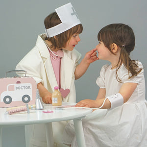 JaBaDaBaDo Doctor's Case Pink | Wooden Pretend Play Toy | Lifestyle – 2 Girls Playing | BeoVERDE.ie