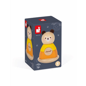 Janod Bear Stacker & Rocker | Wooden Toddler Activity Toy | Packaging | BeoVERDE.ie