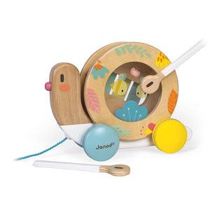 Janod Pure Pull-Along Snail | Wooden Toddler Activity Toy | Left Side View Playing Drum | BeoVERDE.ie