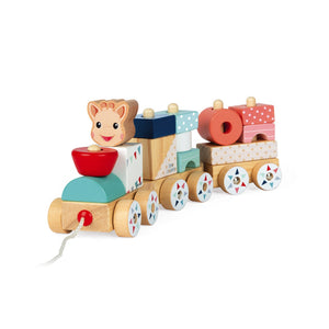Janod Sophie la girafe Wooden Train | Wooden Toddler Activity Toy | Front Right Side View | BeoVERDE.ie