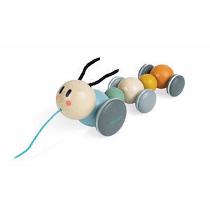 Janod Sweet Cocoon Pull-Along Caterpillar | Scandi Style Wooden Toddler Activity Toy | Front Left Side View | BeoVERDE.ie
