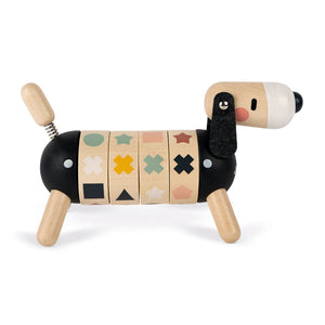 Janod Sweet Cocoon Shapes And Colours Dog | Scandi Style Wooden Toy | Right Side Shapes Lined-up | BeoVERDE.ie