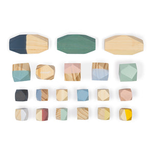 Janod Sweet Cocoon Stacking Stones | Scandi Style Wooden Toy | Top View Stones Lined Up | BeoVERDE.ie