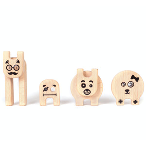 Kipod Toys Funny Creatures | Creative Wooden Toy Play Set | Wooden Assembly Puzzle & Game | 4 Figure Samples Small | BeoVERDE.ie