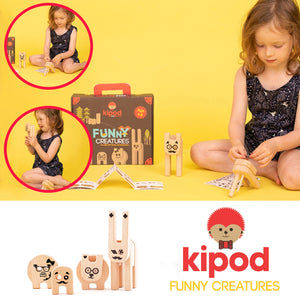 Kipod Toys Funny Creatures | Creative Wooden Toy Play Set | Wooden Assembly Puzzle & Game | Lifestyle – Girl Playing | BeoVERDE.ie