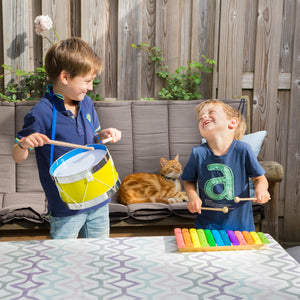 New Classic Toys Rainbow Xylophone | Musical Toy | Wooden Toddler Activity Toy | Lifestyle – Two Boys Playing | BeoVERDE.ie