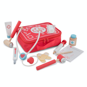 New Classic Toys Doctor Play Set | Wooden Pretend Play Toy | Items Outside Bag | BeoVERDE.ie