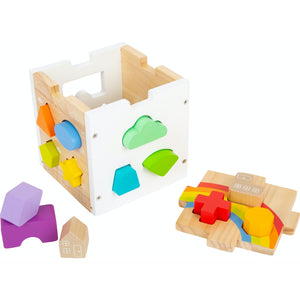Small Foot Wooden Rainbow Shape Sorter Cube | Baby & Toddler Activity Toy | Cube Open With Pieces | BeoVERDE.ie