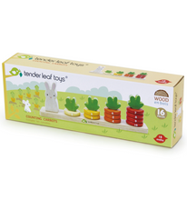 Load image into Gallery viewer, Tender Leaf Counting Carrots | Hand-Crafted Wooden Educational Toy | Packaging | BeoVERDE.ie