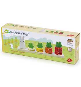 Tender Leaf Counting Carrots | Hand-Crafted Wooden Educational Toy | Packaging | BeoVERDE.ie