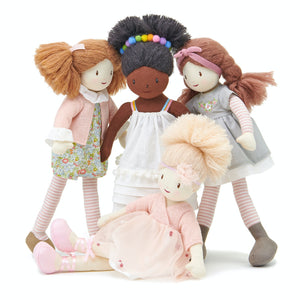 ThreadBear Design Marty Floral Rag Doll | Soft Cotton Children's Doll | Hand-Crafted Rag Doll | Front View – Rag Doll Marty and her friends | BeoVERDE.ie