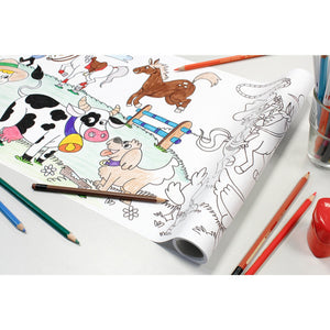 Self-Stick Colouring Book & Roll | Farm Life Adventures | Partially Coloured Sheet | BeoVERDE.ie