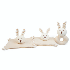 Large Warming Pillow for Babies | Rabbit Product Range Comforter and Rattle | BeoVERDE.ie