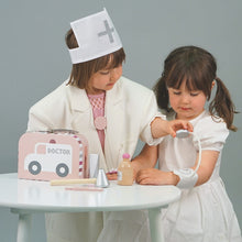 Load image into Gallery viewer, JaBaDaBaDo Doctor's Case Pink | Wooden Pretend Play Toy | Lifestyle – 2 Girls Playing Blood Pressure Monitor | BeoVERDE.ie