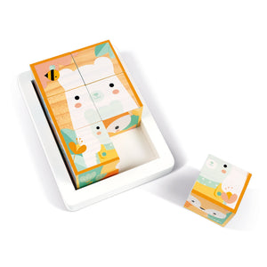 Janod Pure 6 Wooden Blocks Tray | Wooden Toddler Activity Toy | Top View – Bears – One Block Out | BeoVERDE.ie
