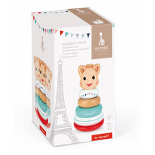 Load image into Gallery viewer, Sophie la girafe Stackable Roly-Poly | Wooden Toddler Activity Toy | Packaging | BeoVERDE.ie