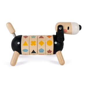 Janod Sweet Cocoon Shapes And Colours Dog | Scandi Style Wooden Toy | Right Side Colour Lined-up | BeoVERDE.ie