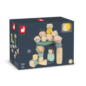 Janod Sweet Cocoon Stacking Stones | Scandi Style Wooden Toy | Packaging | BeoVERDE.ie