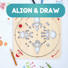 Load image into Gallery viewer, Space - Rotating Wooden Drawing Stencil Kit for Children | Kipod Toys | Wooden Arts & Crafts Kit | Educational Wooden Toy | Lifestyle – Top View | BeoVERDE.ie