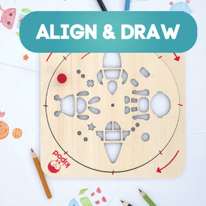 Space - Rotating Wooden Drawing Stencil Kit for Children | Kipod Toys | Wooden Arts & Crafts Kit | Educational Wooden Toy | Lifestyle – Top View | BeoVERDE.ie