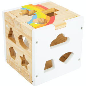 Small Foot Wooden Rainbow Shape Sorter Cube | Baby & Toddler Activity Toy | Cube Empty – Right Side View | BeoVERDE.ie