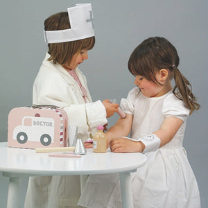 JaBaDaBaDo Doctor's Case Pink | Wooden Pretend Play Toy | Lifestyle – 2 Girls Playing Injection | BeoVERDE.ie